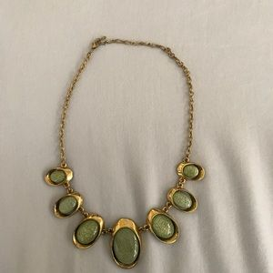 Vintage Gold and Jade-Tone Statement Necklace